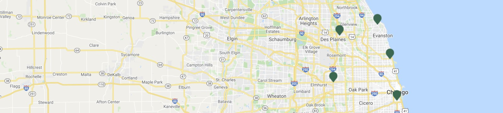 Google Map shows INBK's 5 locations in Great Chicago Area.